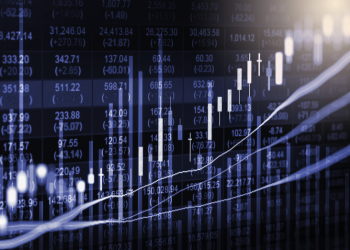 Index graph of stock market financial indicator analysis on LED. Abstract stock market data trade concept. Stock market financial data trade graph background. Global financial graph analysis concept.