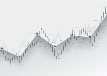 Abstract financial chart with uptrend line graph in stock market on black and white colour background