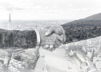 Shaking hands in the city