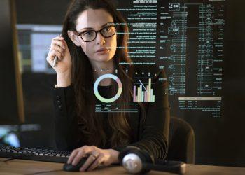 Data dark office woman
