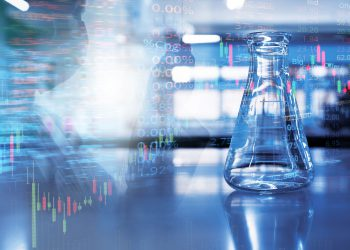 single science glass flask with double exposure scientist or researcher holding tube in chemistry blue laboratory with stock market information background