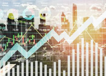 Stock financial index show successful investment on property business and construction industry with graph and chart for presentation and report background.