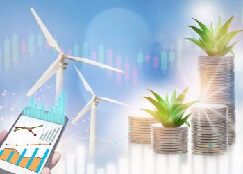 Renewable clean energy investment for sustainability concept and alternative energy economic growth idea